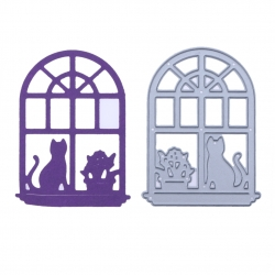 Printable Heaven die - Window with Cat & Plant (1pc)