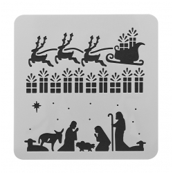Reusable Stencil - Nativity/Presents/Sleigh (1pc)