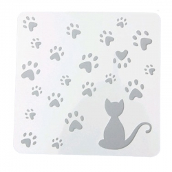 Reusable Stencil - Cat & Paw-prints (1pc)