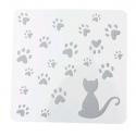 13 x 13cm Reusable Stencil - Cat & Paw-prints (1pc)
