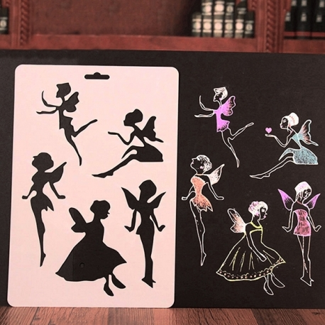 Large Plastic Stencil - Fairies (1pc)