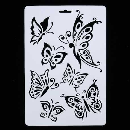 Large Plastic Stencil - Butterflies (1pc)