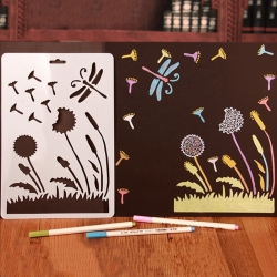 A4 Plastic Stencil - Dandelion Clocks & Dragonfly (1pc)