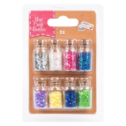 Mini Craft Bottles (8 Pack) - Sparkly Glitter (CR0338)