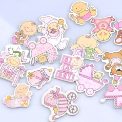 Wooden Baby Mix - Pink (20pcs)