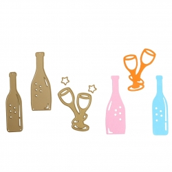 Printable Heaven dies - Wine & Champagne Bottles & Glasses (5pcs)