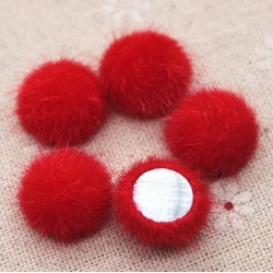 Hairy Buttons - Red (50pcs)