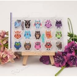 Clear stamp set - Happy Owls (15pcs)