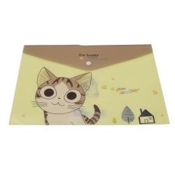 Plastic A4 Storage Folder, Cat - Yellow