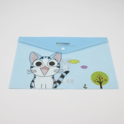 Plastic A4 Storage Folder, Cat - Blue