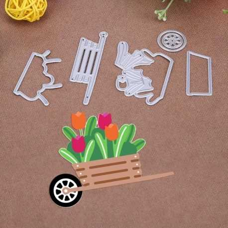 Printable Heaven dies - Wheelbarrow with Tulips (6pcs)