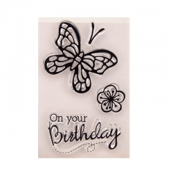 Clear stamp set - On Your Birthday Butterfly (3pcs)