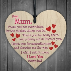 Wooden sign - Dear Mum (1pc)