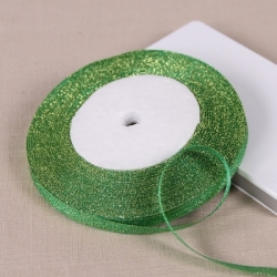 Metallic Ribbon - 7mm Green/Gold (22.86 metres)