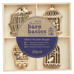 Wooden Shapes (20pcs) - Bare Basics Birdcages (PMA 174693)