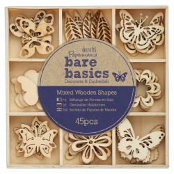 Wooden Shapes (45pcs) - Flowers & Butterflies (PMA 174695)