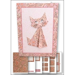 Download - Card kit - Origami Cat Pink