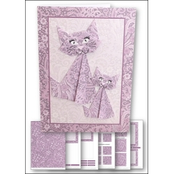 Download - Card kit - Origami Cat Lilac