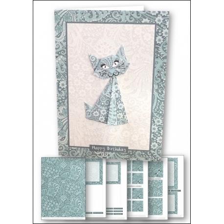 Download - Card kit - Origami Cat Teal