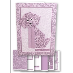Download - Card kit - Origami Dog Lilac
