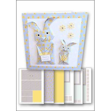 Download - Card Kit - Origami Easter Bunny Blue