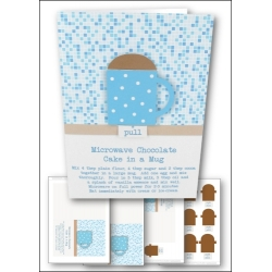 Download - Card Kit - Simple Chocolate Cake in a Mug Card, Blue