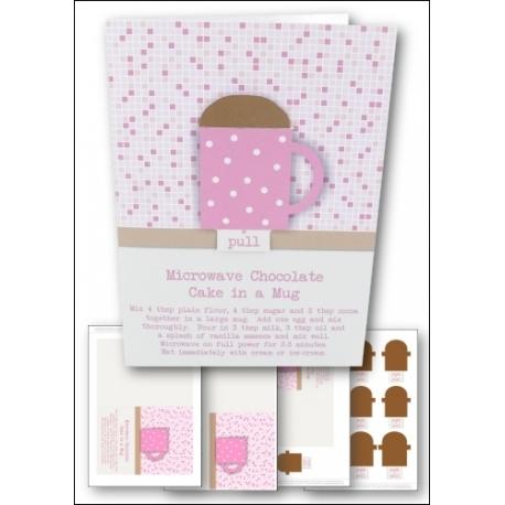Download - Card Kit - Simple Chocolate Cake in a Mug Card, Pink