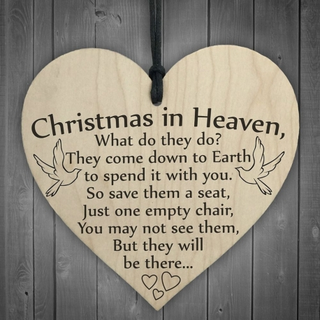 Wooden sign - Christmas in Heaven (1pc)