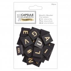 Metallic Wooden Tile Letters (30pcs) - Elements Metallics (PMA 174677)