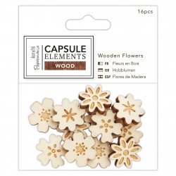 Wooden Flowers (16pcs) - Elements Wood (PMA 174674)