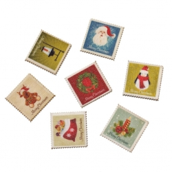 Wooden Christmas Postage Stamps (6pcs)