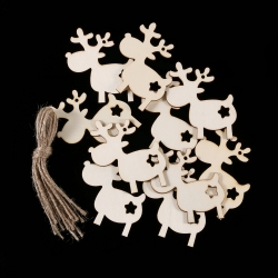 Wooden Reindeer with Star (10pcs)