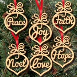 Wooden Christmas Word Baubles (6pcs)