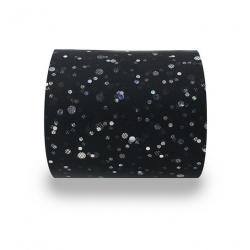 Tulle Ribbon Roll with Sequins - Black (5cm x 22m)
