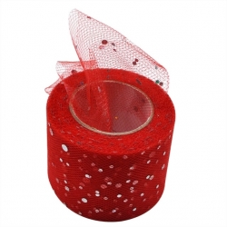 Tulle Ribbon Roll with Sequins - Red (5cm x 22m)