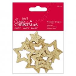 Wooden Shapes (12pcs) - Gold Star (PMA 359905)
