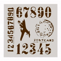 13 x 13cm Reusable Stencil - Army Numbers & Plane (1pc)