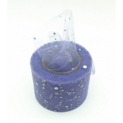 Tulle Ribbon Roll with Sequins - Lilac (5cm x 22m)