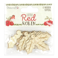 Dovecraft Little Red Robin - Wooden Holly Toppers (DCTOP102X18)