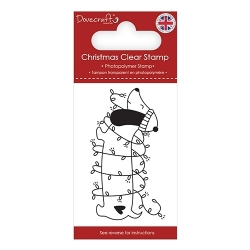 Dovecraft Clear Stamp - Christmas Sausage Dog (DCSTP176X18)