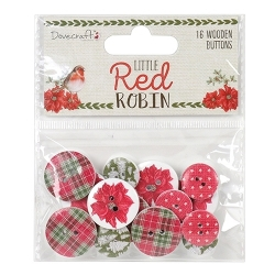 Dovecraft Little Red Robin - Wooden Buttons (DCWDN065X18)