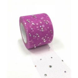 Tulle Ribbon Roll with Sequins - Magenta (5cm x 22m)