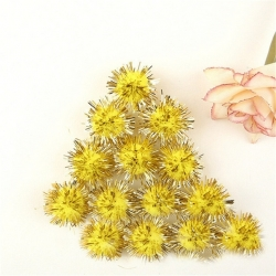 Tinsel Pom-poms 10mm - Yellow (100pcs)