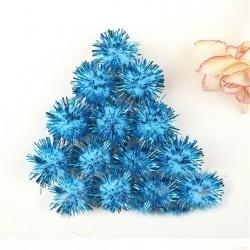 Tinsel Pom-poms 10mm - Pale blue (100pcs)
