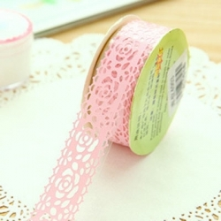 Self-adhesive Lace tape - Pink (14mm x 1m)