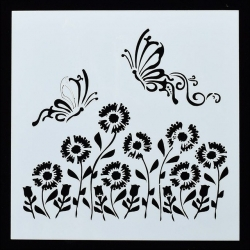 13 x 13cm Reusable Stencil - Flying Butterflies & Flowers (1pc)