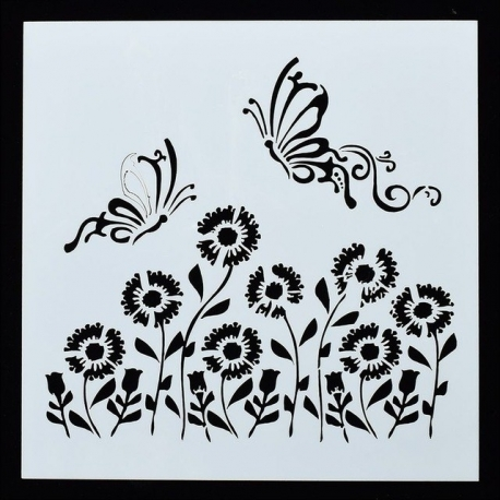Reusable Stencil - Flying Butterflies & Flowers (1pc)