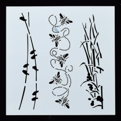 Reusable Stencil - Birds, Bees & Bullrushes (1pc)