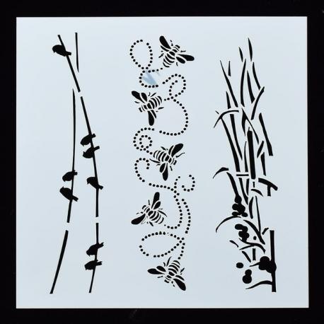 Reusable Stencil - Birds, Bees & Bullrushes (1pc)