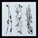 13 x 13cm Reusable Stencil - Birds, Bees & Bullrushes (1pc)